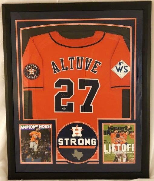 differently 944eb 14ed3 Jose Altuve Autographed Houston Astros Jersey Framed